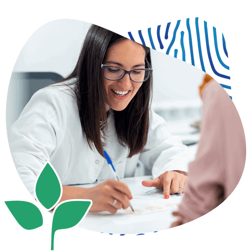 Portrait of White Smiling Lady Doctor Writing Her Patient Their Lab Results